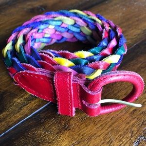 Vintage Rainbow Woven Leather Belt Size Small